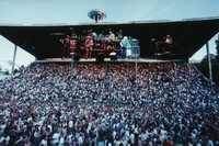 Grateful Dead at the Seattle Center Memorial Stadium: double exposure of the audience and the band