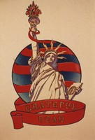Grateful Dead merchandise: Statue of Liberty drawing, likely by David Lundquist, that was part of a display at an unknown location