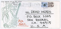 Decorated envelope with Uncle Sam skeleton stamp