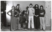 Grateful Dead publicity shoot at Club Front: Donna Godchaux, Keith Godchaux, Phil Lesh, Bill Kreutzmann, Bob Weir, Jerry Garcia, Mickey Hart