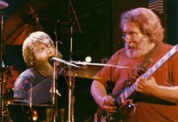 Grateful Dead: Brent Mydland and Jerry Garcia, in a double exposure