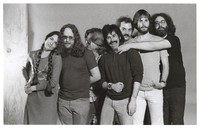 Grateful Dead publicity shoot at Club Front: Donna Godchaux, Keith Godchaux, Phil Lesh, Mickey Hart, Bill Kreutzmann, Bob Weir, Jerry Garcia