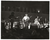 Grateful Dead, ca. 1970: Jerry Garcia, Phil Lesh and Bob Weir, with Mickey Hart in the background, ca. 1970